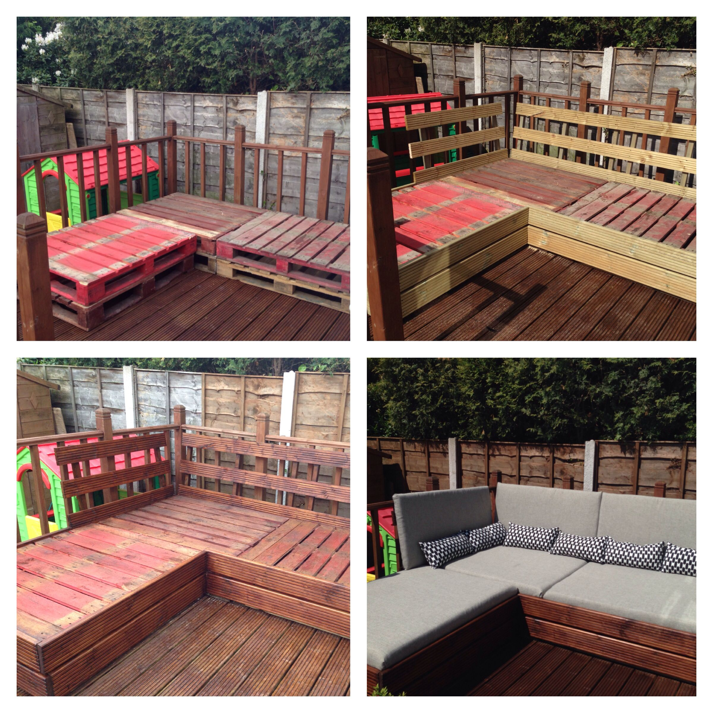 Patio furniture made from pallets and decking boards