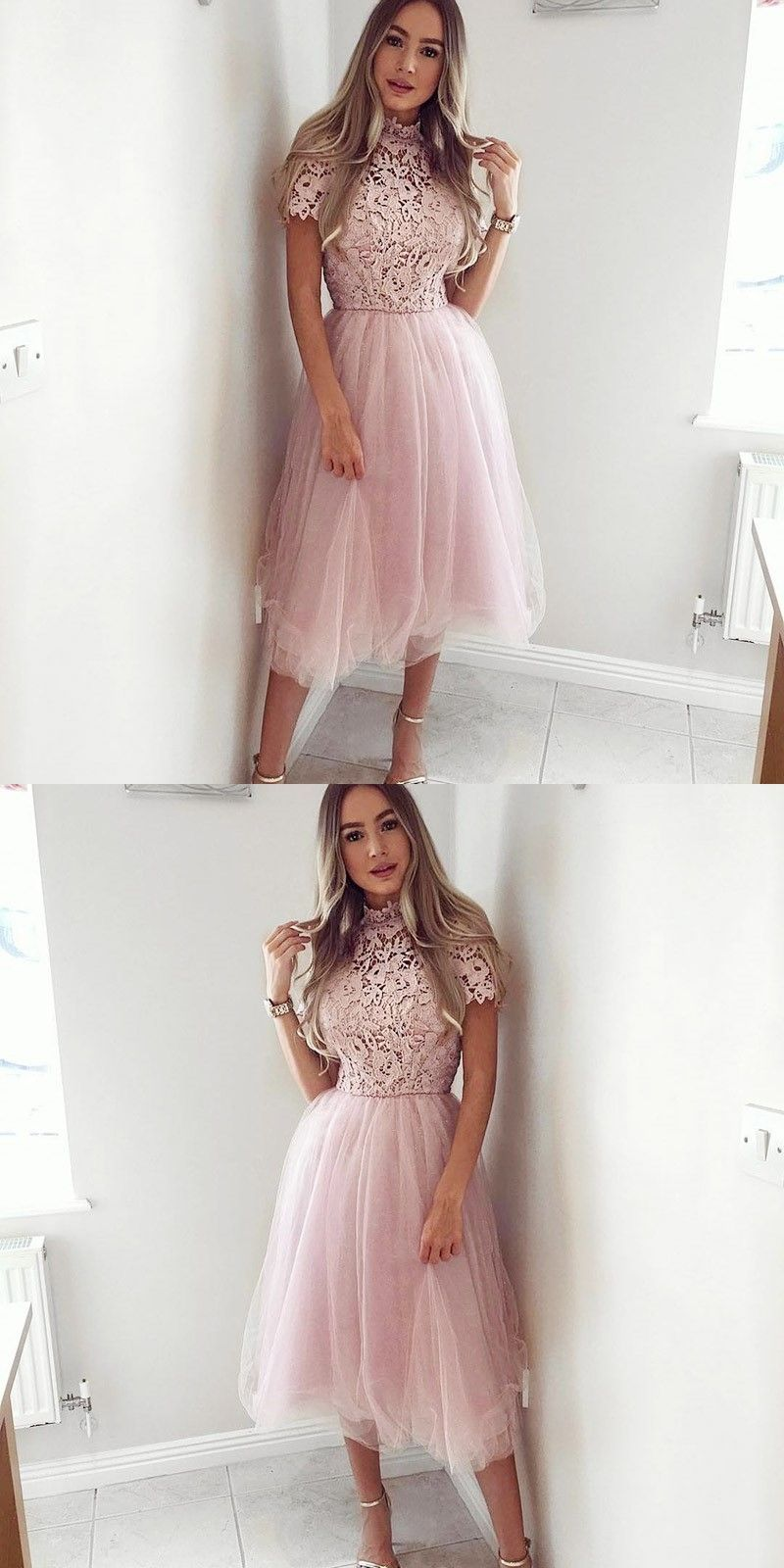 Pink dress hoco  ALine Jewel MidCalf Pink Homecoming Dress with Lace  Homecoming