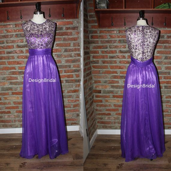 Royal Purple Embroidery Bodice Dress Gold Embrodery Chiffon Long Elegant Las