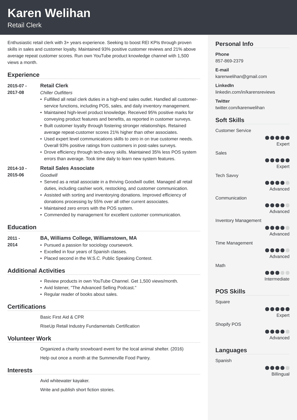 retail resume template cubic in 2020 Retail resume
