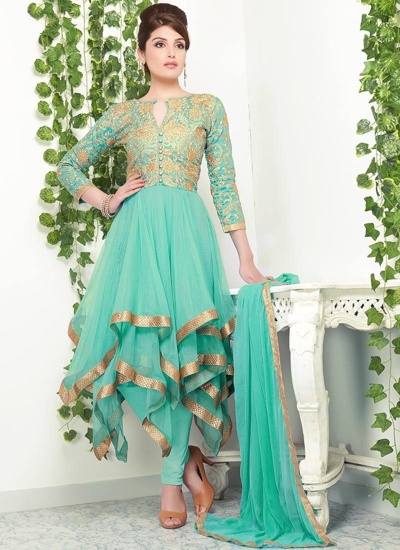 Trendy Net Asymmetrical Layered Anarkali | dress I like | Pinterest ...