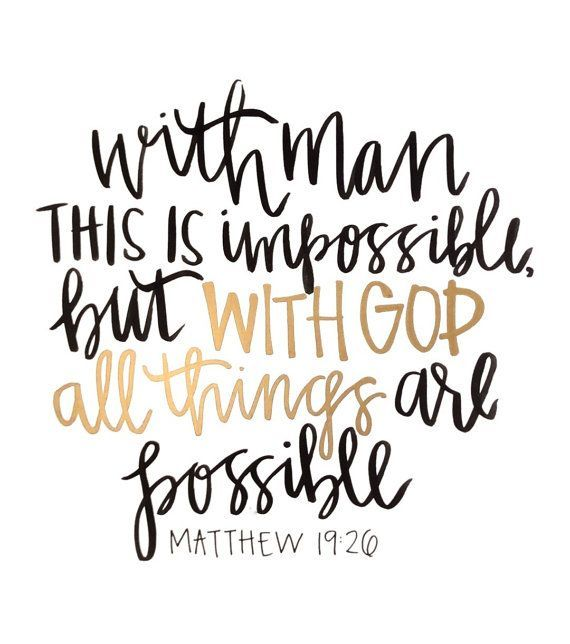 Matthew 19:26 - Black & Gold Ink Handlettered Print - But With God All Things Are Possible - Bible Verse Scripture    fullymadedesigns.com
