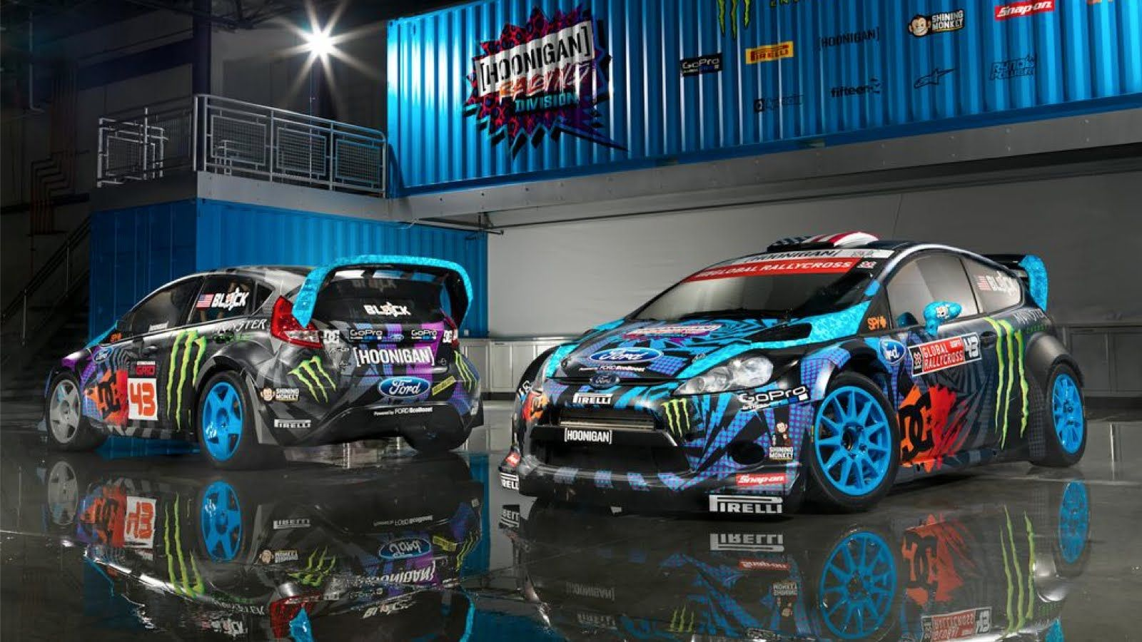 ken blocks blue ford rally cars