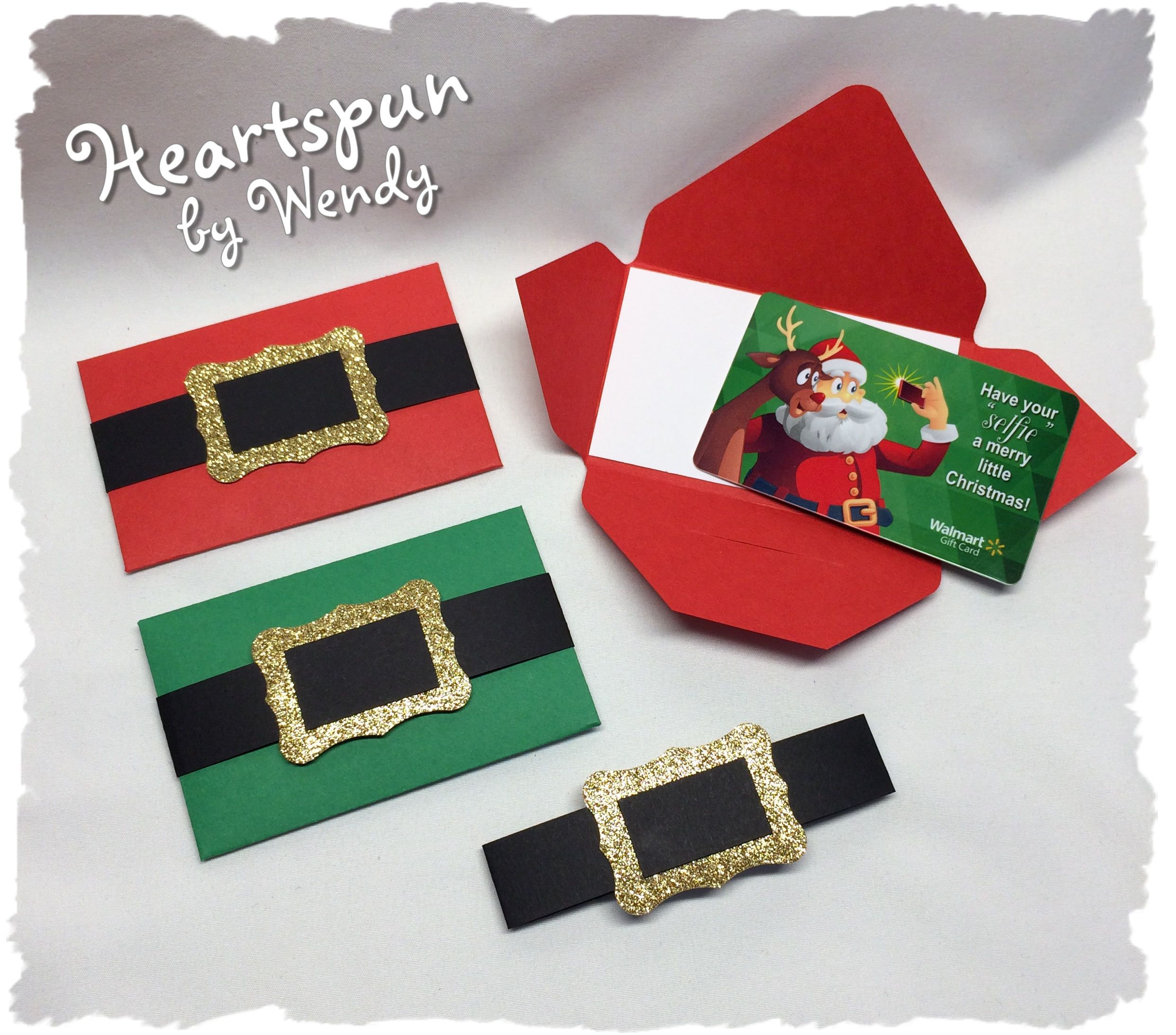 Set Of 4 Santa Suit Or Elf Gift Card Holders With Note Card