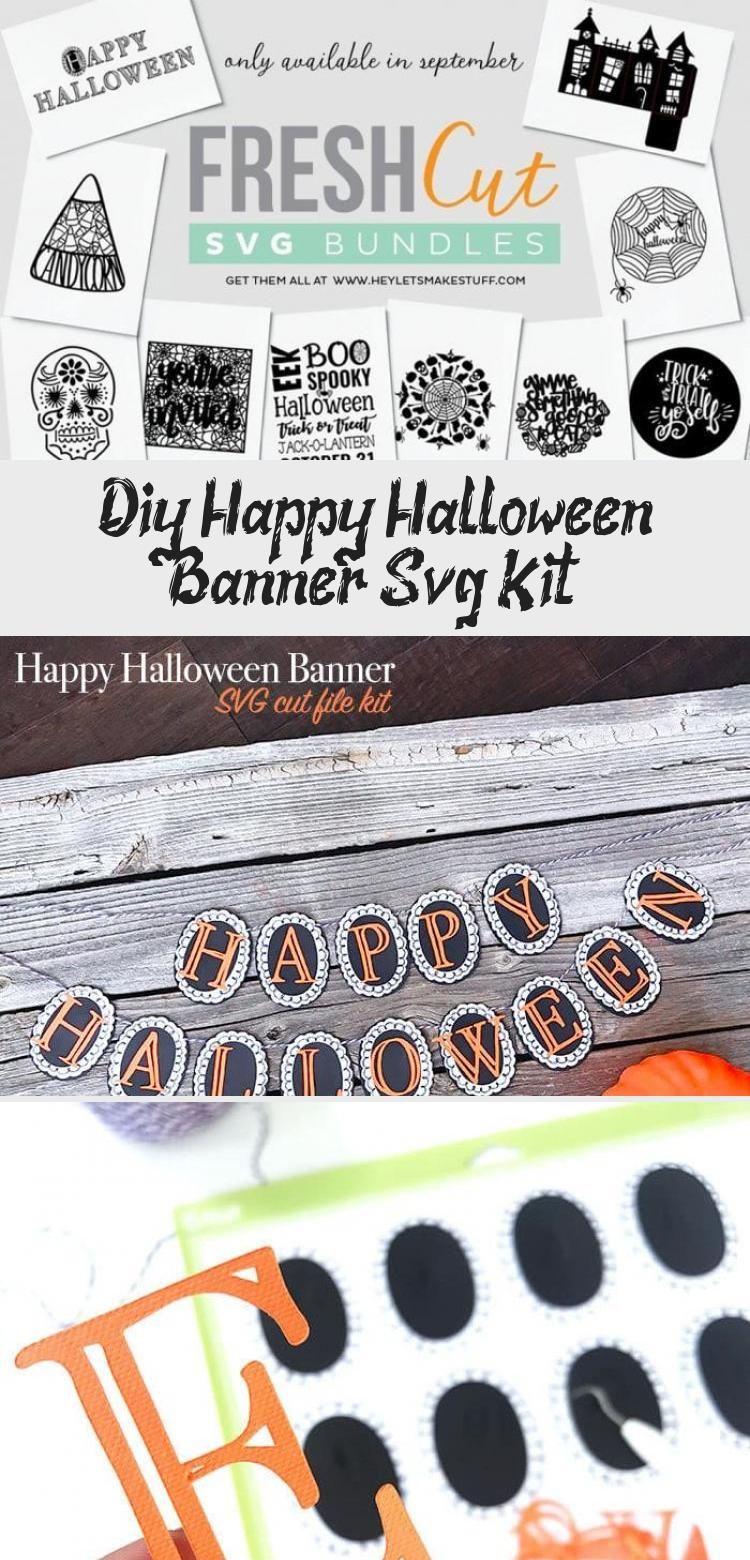 DIY Happy Halloween Banner SVG Kit - 100 Directions #bannerLetters #Summerbanner #bannerImprimible #Gamebanner #Businessbanner #happyhalloweenschriftzug