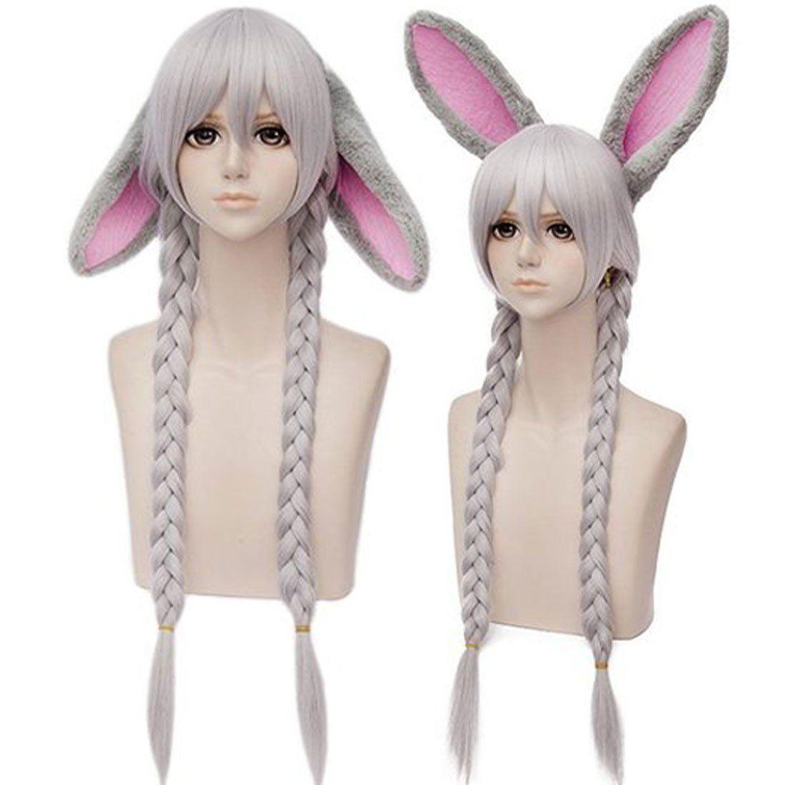 Anogol wigrabbit ears grey bands hair fancy dress for