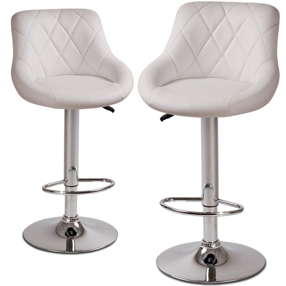 White Leather Kitchen Chairs Miadomodoar Lbhk04 2 Height Adjustable Faux Leather Bar Stools