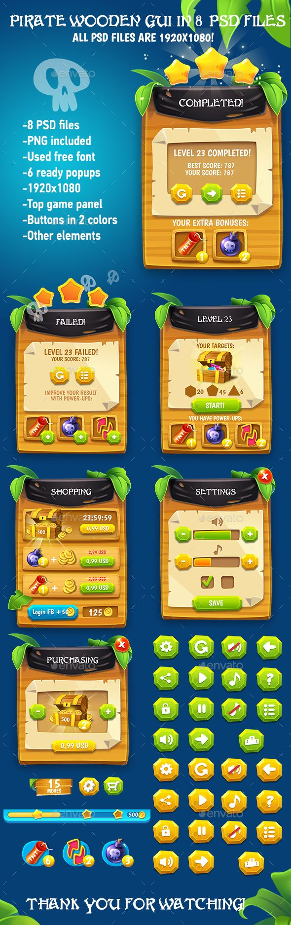 Wooden Pirate GUI Pack - User Interfaces Game Assets | Game