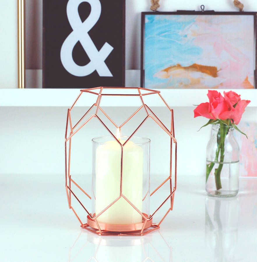 copper rose gold geometric candle holder lantern