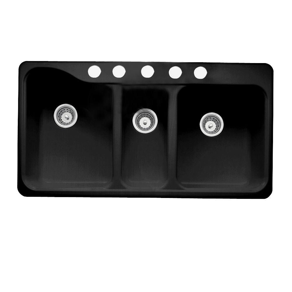 update or remodel your kitchen with american standard silhouette drop in or undercounter mount americast triple bowl kitchen sink in black  silhouette drop in or undercounter mount americast 41 5x22x9 5 5      rh   pinterest com