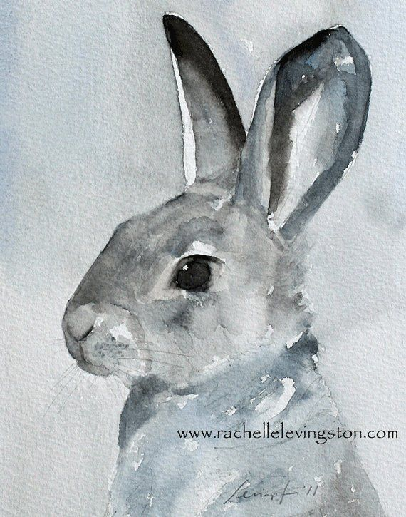 59db61d2a Gray bunny art print Bunny painting in watercolor Easter bunny decor  Realistic bunny painting Farmho