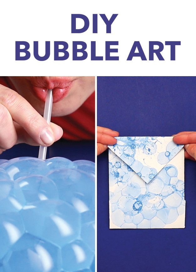 Bubble Painting Envelopes = 1/2 cup of water, 2 Tablespoons of paint, and a few squirts of dish soap in each container. Blow with a straw into the cup to make lots of bubbles pile up on top of the cup, then press paper to the bubbles so they pop and leave bubble prints!