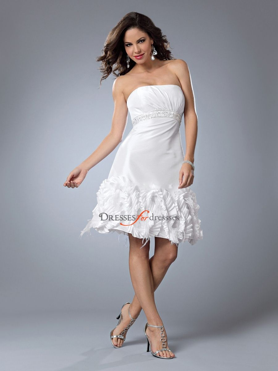 Enticing Strapless White Short A-Line Bridal Gown of Beaded Bust and ...