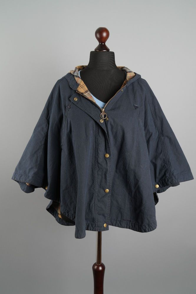 Genuine BARBOUR Ladies Vintage Cape Poncho Waxed Cotton Hooded Navy Blue UK  12