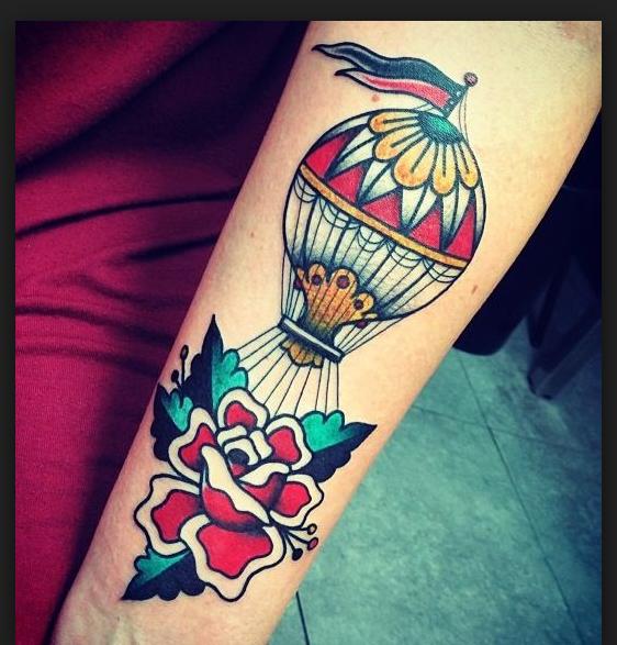 Hot air balloon tattoo