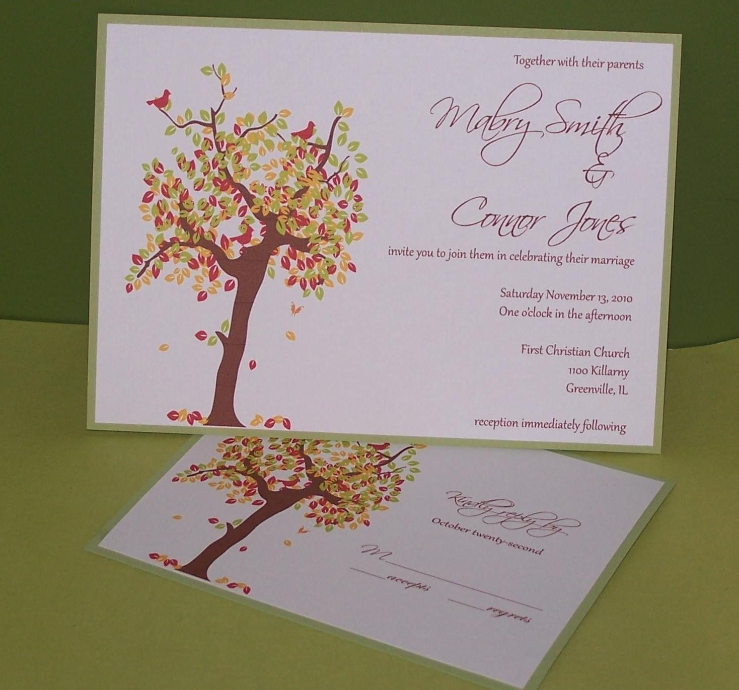 Personalized Wedding Invitation Fall Tree by SimplyStampedInvites ...