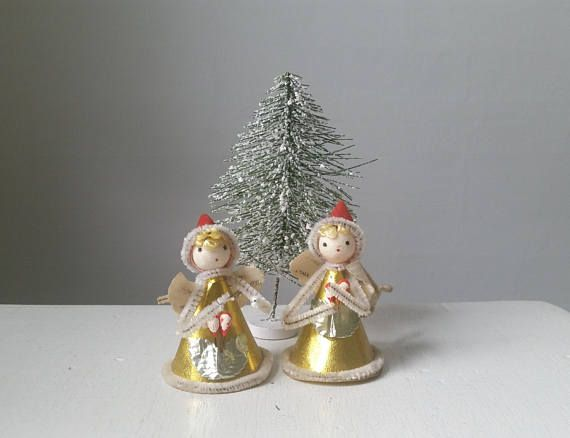 two vintage angel ornaments 1950s christmas decorations