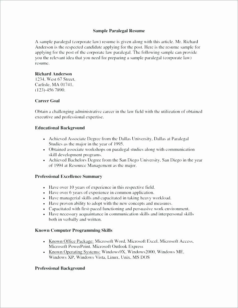 Entry Level Paralegal Resume Awesome Resume Objective for