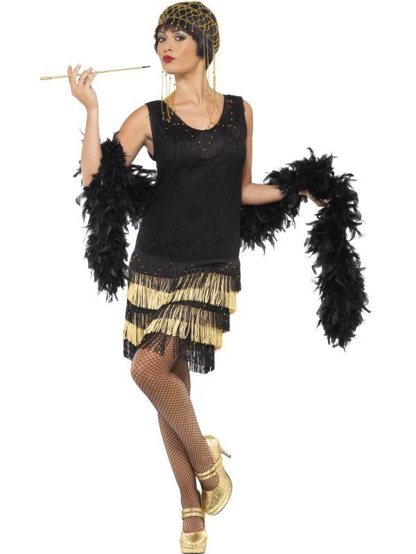 Ladies Black Red Flapper Costume Charleston 20s Gatsby Girl Fancy Dress