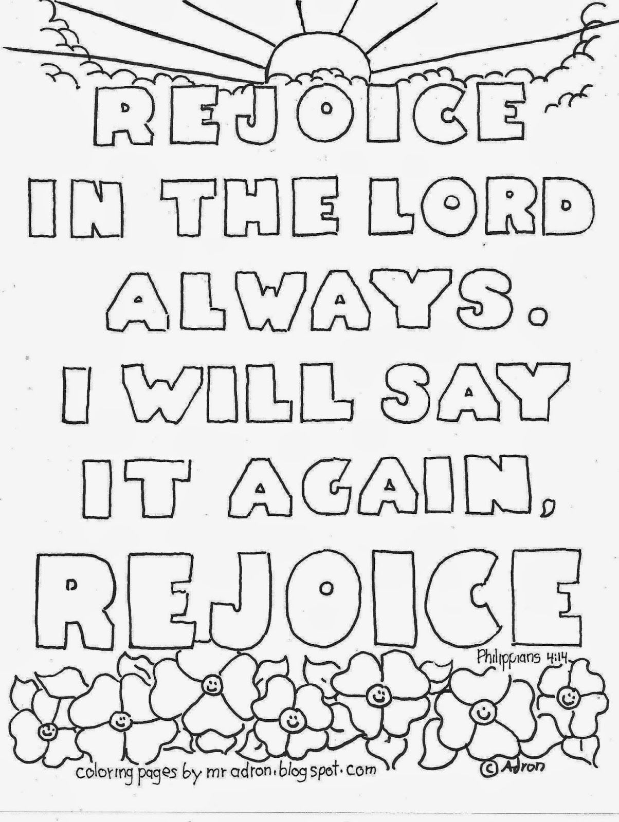 Philippians 4 4 Printable Coloring Page Bible Verse Coloring