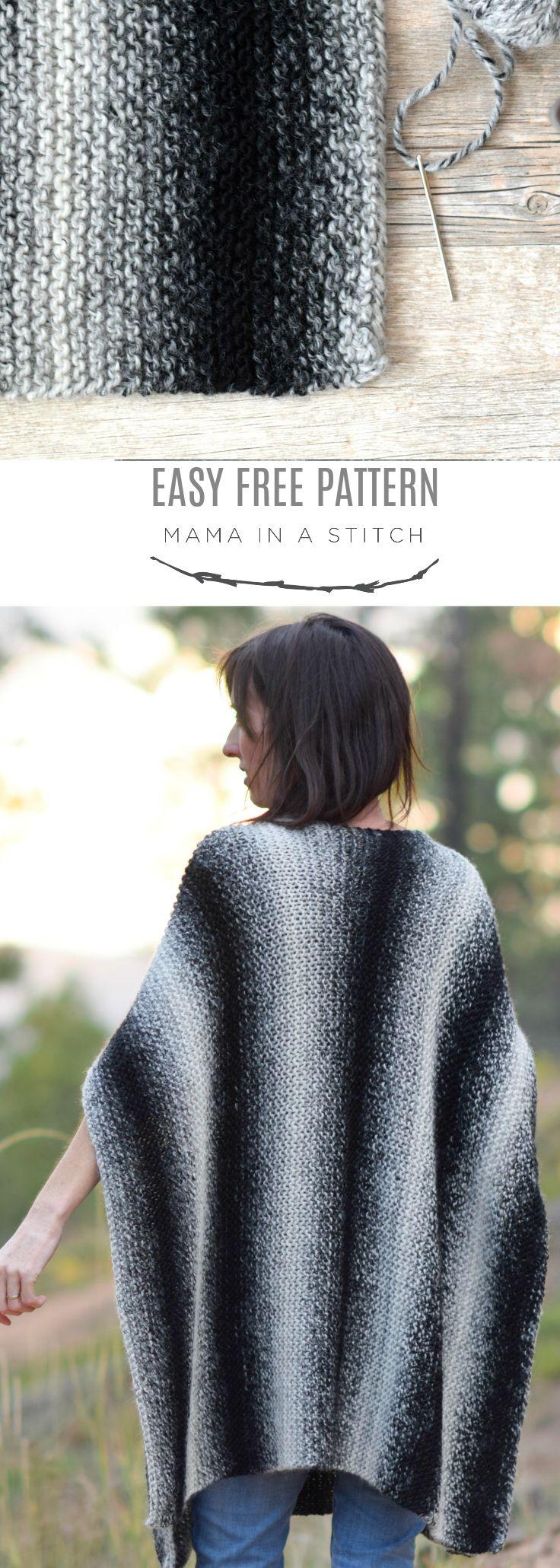 Aspen Relaxed Knit Poncho Pattern via @MamaInAStitch | Knitting ...