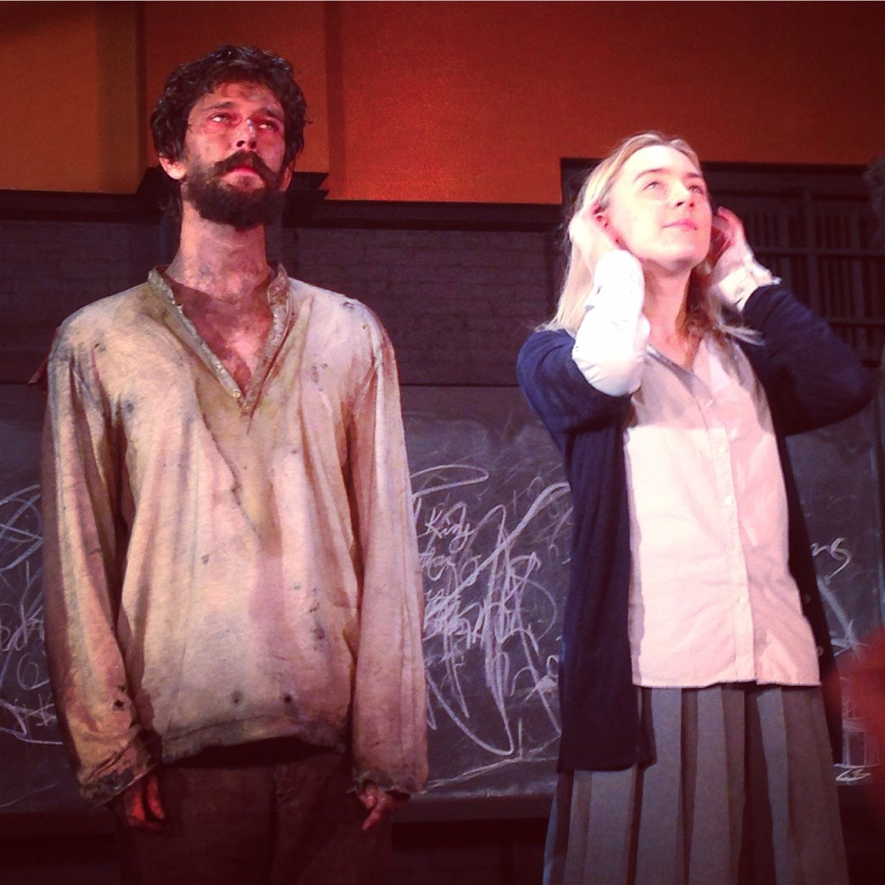 """simonwolfgard: """" Ben Whishaw and Saoirse Ronan during curtain call, first preview night of The Crucible on Broadway """""""