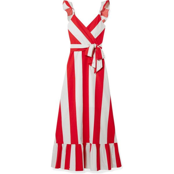 Fernanda Ruffled Striped Cotton-poplin Maxi Dress - Red Alice & Olivia Genuine Cheap Price Cheap Sale Online Sale Best Wholesale uDJH7w
