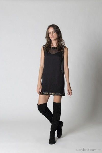 4b5a5371804 vestido corto negro para fiestas chocolate invierno 2017