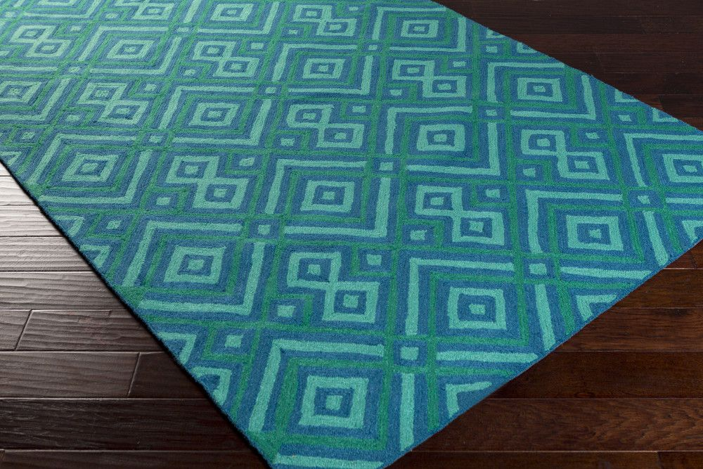 Brentwood Area Rug | Blue Geometric Rugs Hand Hooked | Style BNT7704