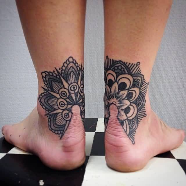 Corresponding Tattoos Back Of Ankle Tattoo Stippling Tattoo Tattoos