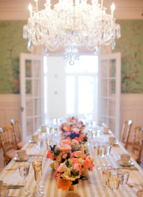Citrus Bridal Shower, Chandelier, green striped tablecloth, table setting