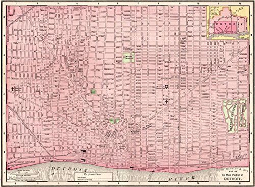 1900 Antique Detroit Michigan Map Original Not a Reprin s