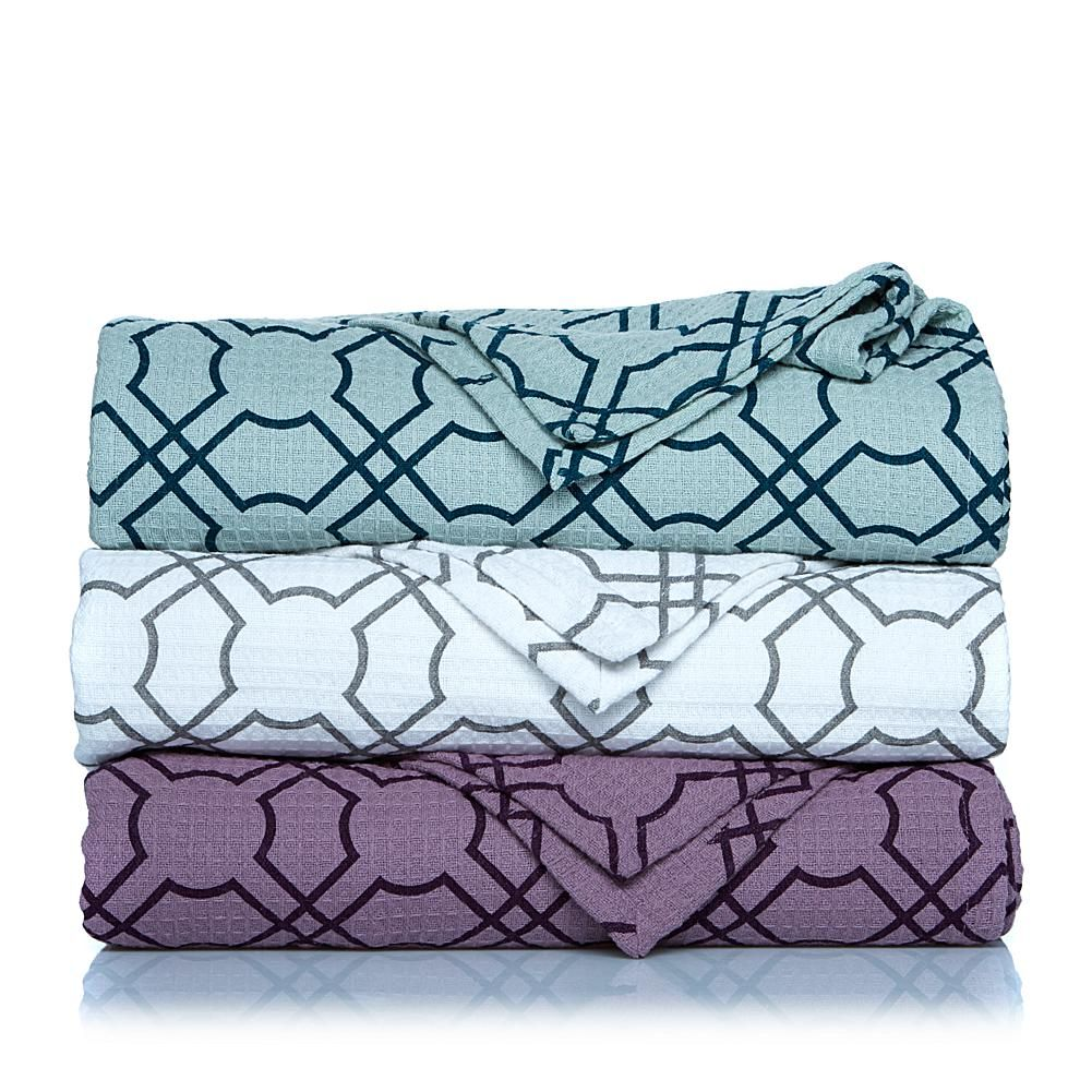 Concierge Collection Elements Geometric Print Cotton Blanket - Gray/Grey - King/Cal King