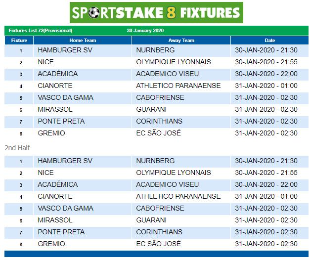 Sportstake 8 Mid Week Fixtures 30 January 2020 Https Www Playcasino Co Za Sportstake 8 Mid Week Fixtures Html In 2020 Fixtures Football Fixtures Casino Bonus