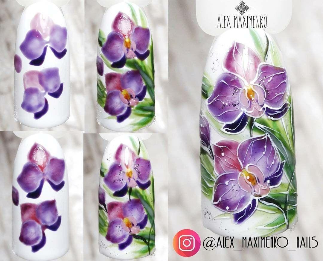 Рисунки цветов орхидеи на ногтях фото