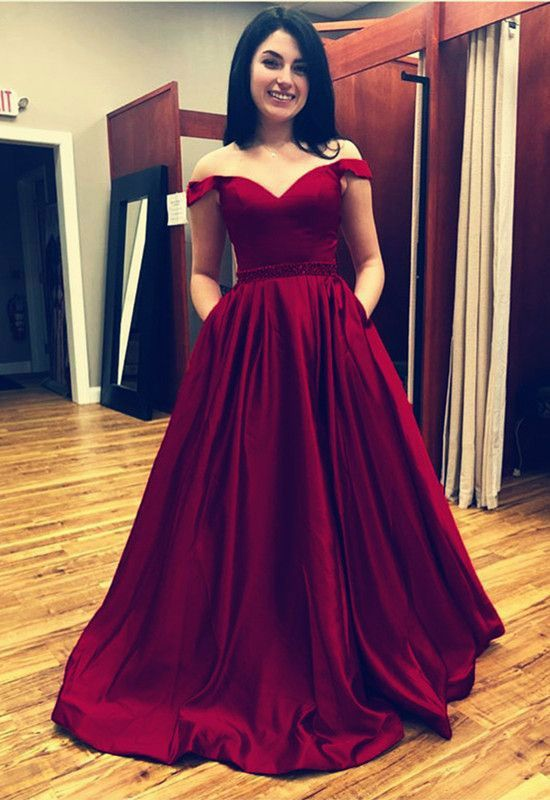 Off Shoulder Long Prom Dresses With Pockets Waist With Beaded Prom Dresses Ball Gown Simple Prom Dress Long Best Formal Dresses