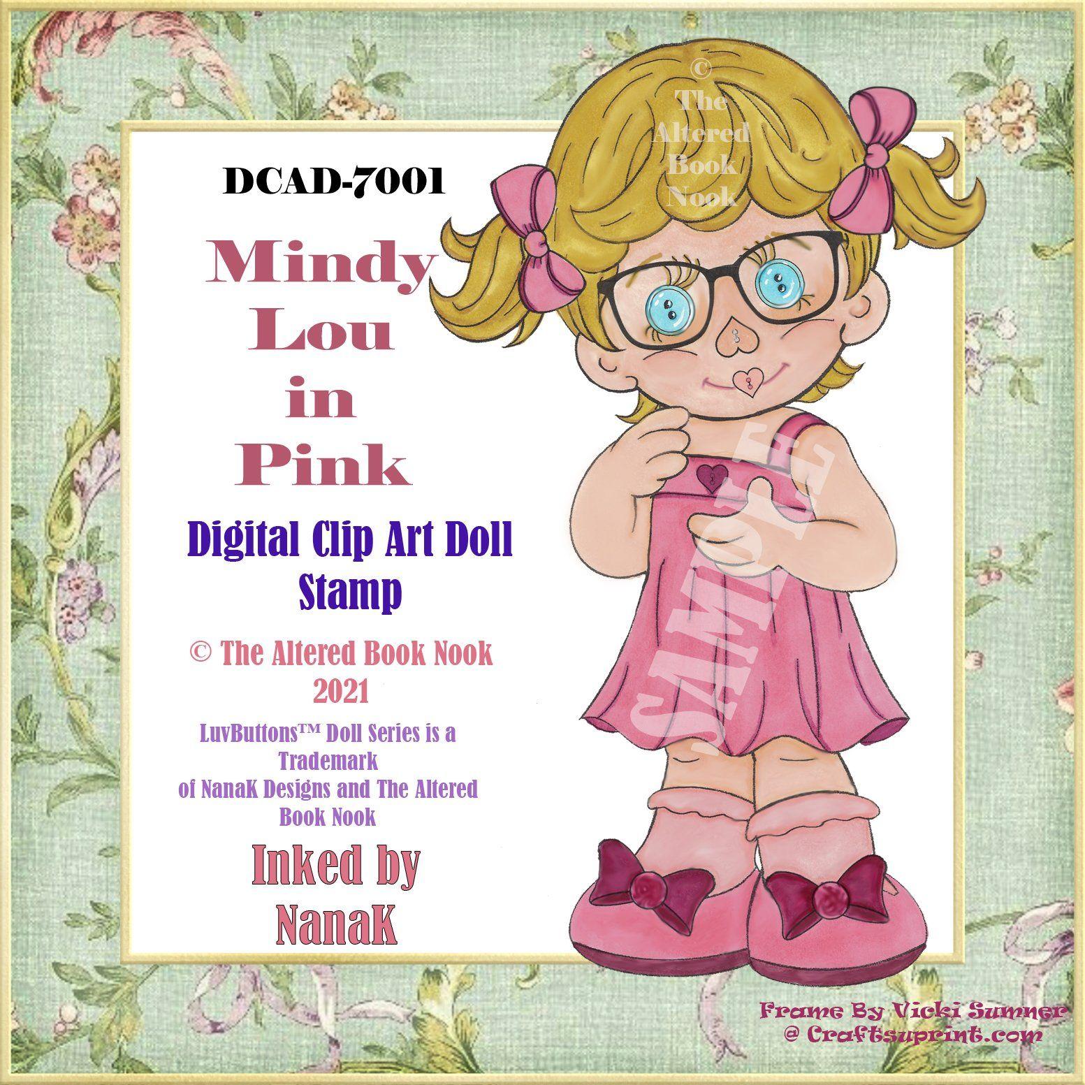 DCAD-7001, Digital Doll Stamp, Colored Doll Stamp, Junk Journal Clip Art, Clip Art, Tag Art, Mindy Lou LuvButtons©