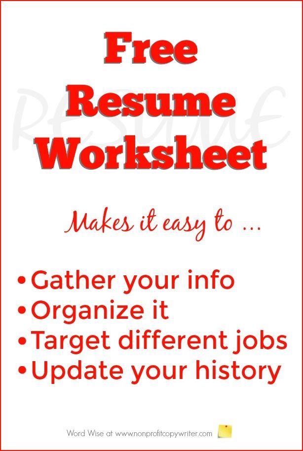 Free Resume Worksheet To Build Your Resume Pinterest Copywriter