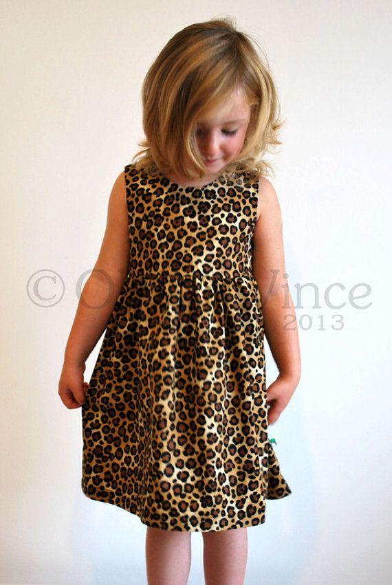 Animal print girls dress leopard toddler party printed faux fur ...