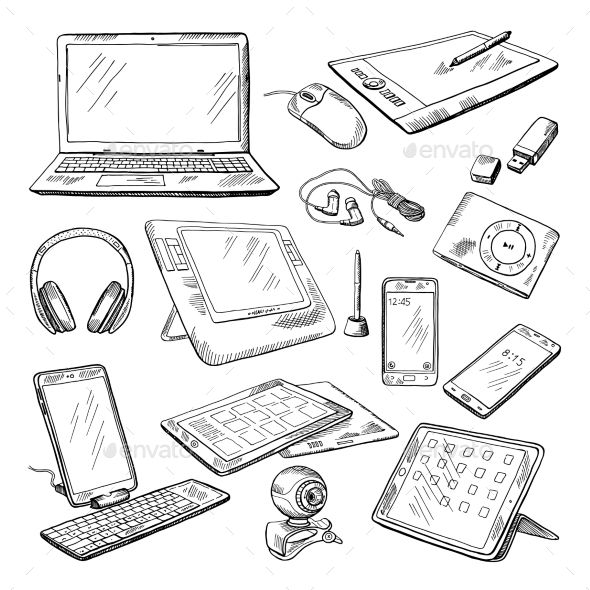 Different Computer Gadgets Computer Drawing Computer Gadgets Computer Sketch