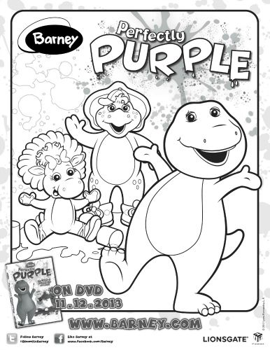 Barney Perfectly Purple Coloring Page Coloring Pages Barney Friends Barney
