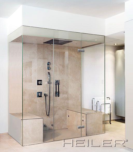 Dampfdusche mit Sitzsockel Steam Shower ... displaycase (-: