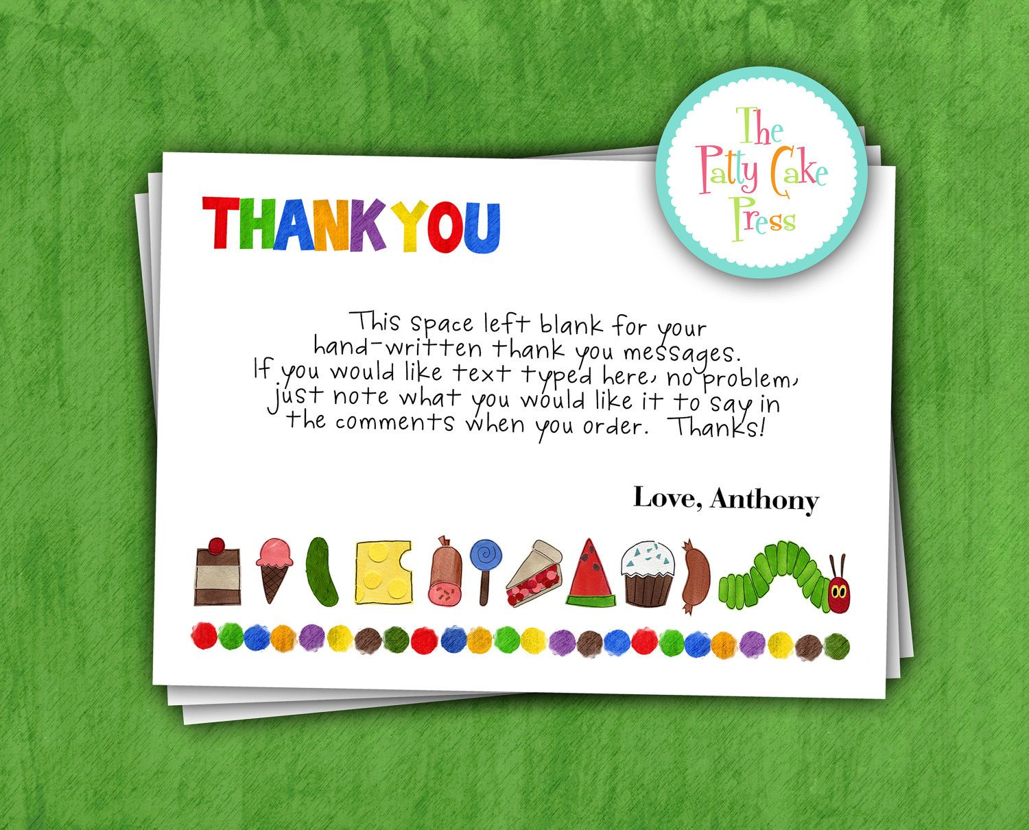 Very Hungry Caterpillar Thank You Cards Custom Printable Digital File Hungry Caterpillar Party Printable Thank You Cards Very Hungry Caterpillar