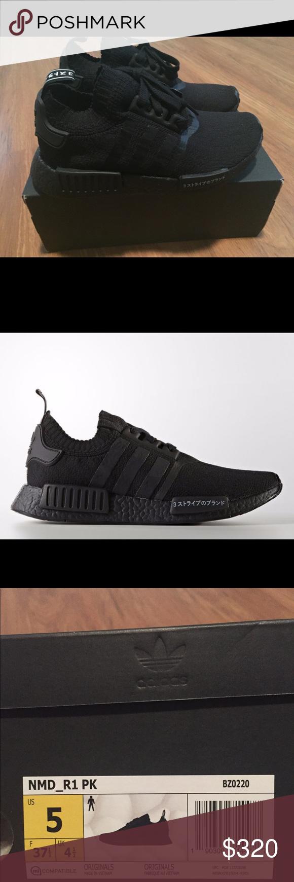 adidas nmd r1 pk giappone triple black noi taglia 5 uomini triple black
