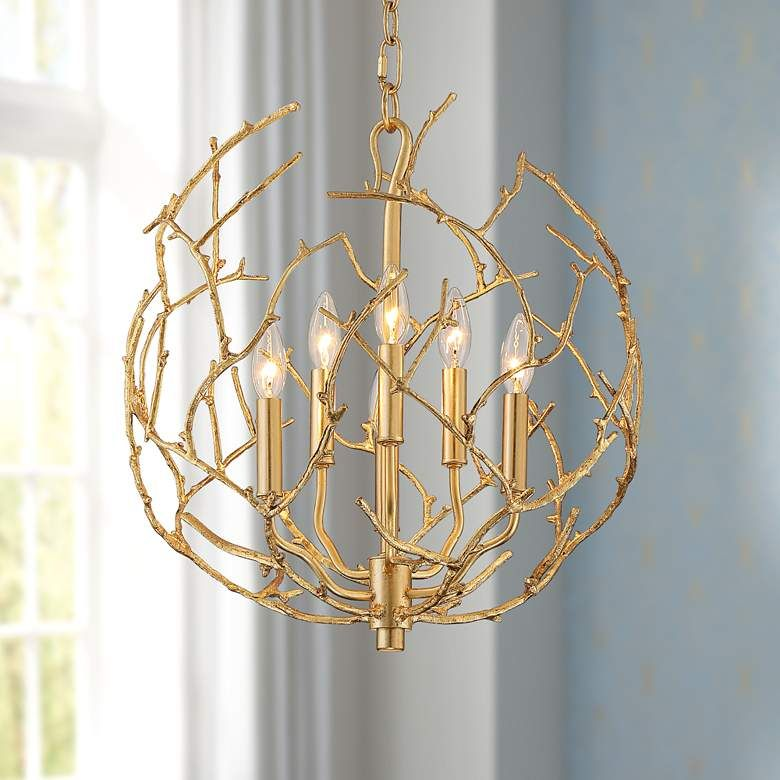 Ena 19 Wide Gold Leaf Branching 6 Light Chandelier 66h22 Lamps Plus Chandelier Lighting Chandelier Light