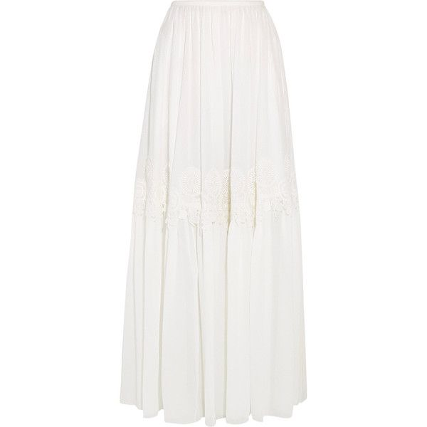 Chloé Guipure lace-trimmed stretch-silk mousseline maxi skirt ($2,290) via Polyvore featuring skirts, long skirts, white maxi skirt, white skirt, lace trim skirt and floor length skirts
