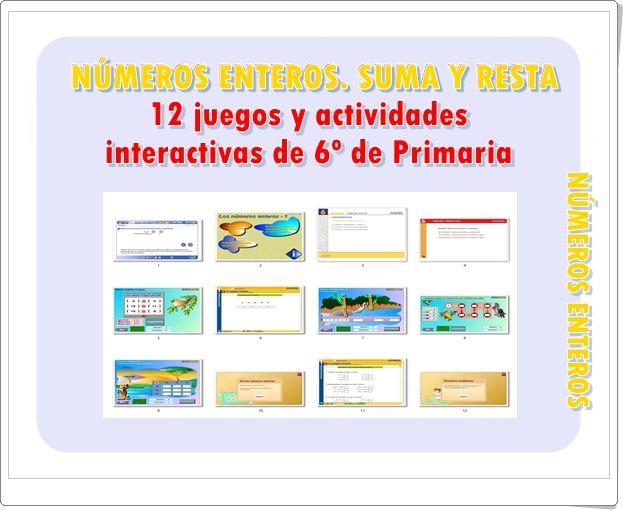 Números Enteros Suma Y Resta 12 Juegos Y Actividades Interactivas Suma Y Resta Actividades Interactivas Resta De Numeros Enteros