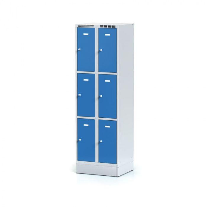 Sheet metal wardrobe on plinth, 6 boxes, blue door, revolving …