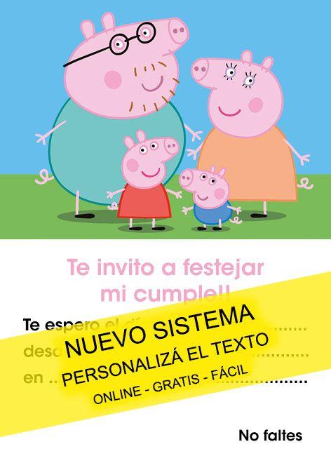 Tarjeta De Cumpleaños De Peppa Pig Tarjeta Para Editar E