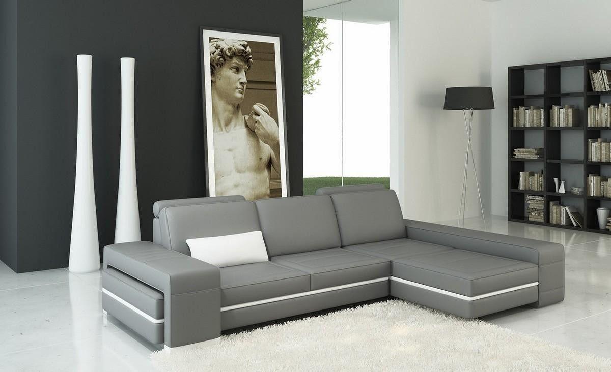 Divani Casa 5070b Modern Grey And White Leather Sectional Sofa Dizajn Mebeli Mebel Myagkaya Mebel